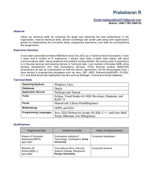 R Resume by Prabakaran R Resume