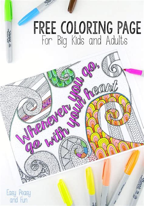Free Coloring Page for Adults Easy Peasy and Fun