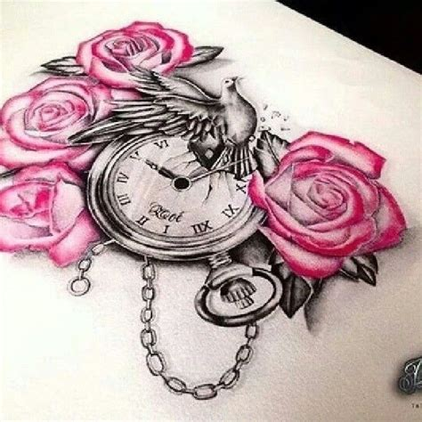 tattoo clock dove roses taschenuhr rosen taube wunderschoen wonderful tattoo designs  love