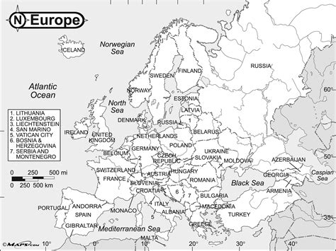 map  europe black  white  country names