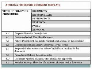 Writing Policies And Procedures Template Writing Effective Policies Procedures