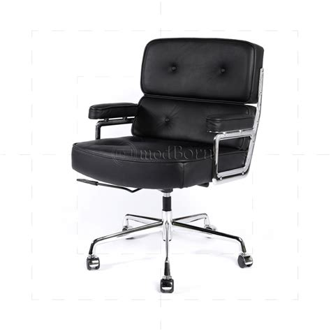 ea104 eames style office lobby black leather executive chair