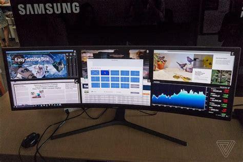 support moniteur bureau samsung a collé deux écrans hd sur ce moniteur 49