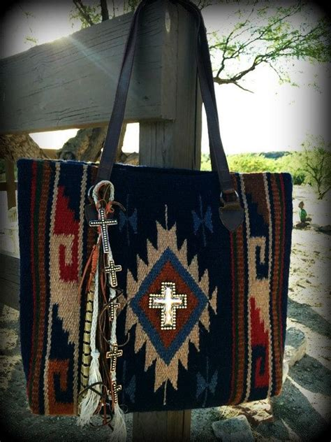 navajo tote bag handmade recycled charms copper cross