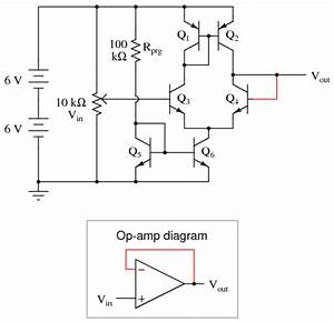 simple op amp discrete semiconductor circuits With op amp diagram