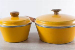 Yellow, Cooking, Pots, Vintage, Westbend, Superhealth, Elite, Heavy, Lidded, Pots, With, Wood, Handles