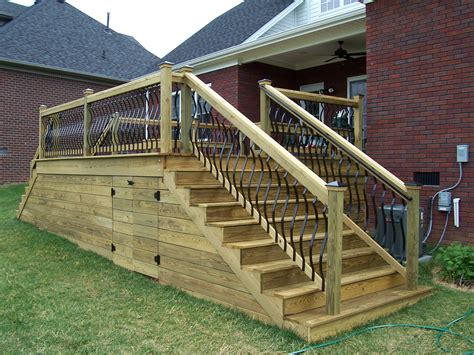 Deckorators Spindles Wood Deck With Horizontal Skirting