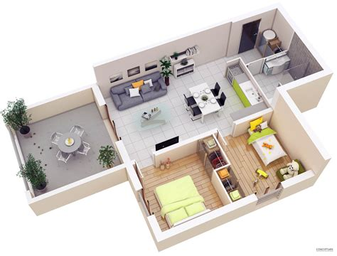 Home Design Diy : 20 More 2 Bedroom 3d Floor Plans