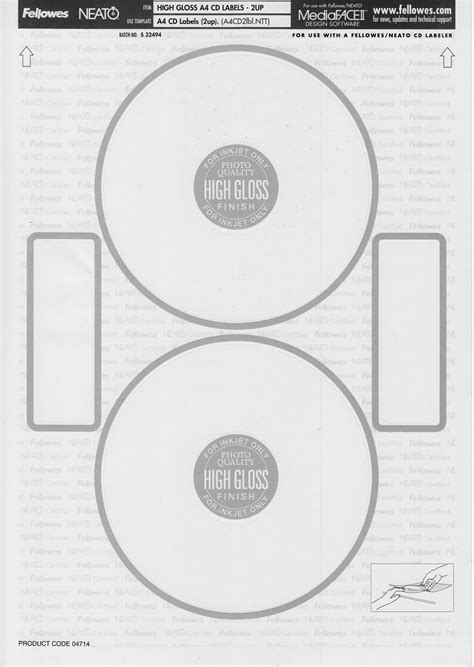 Fellowes Neato Cd Label Template fellowes crc99942 neato cd labels matte 40 countdown