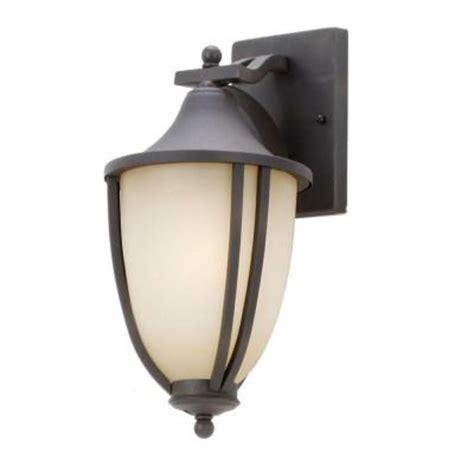 hton bay 1 light rustic iron outdoor wall mount lantern