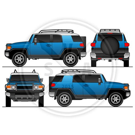 vehicle templates fj cruiser vehicle wrap template stock vector