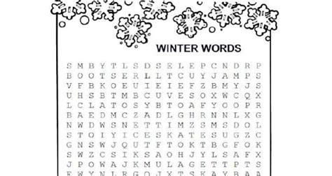 winter words word search activities  kids