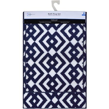 mainstays microfiber navy white bath rug set  piece