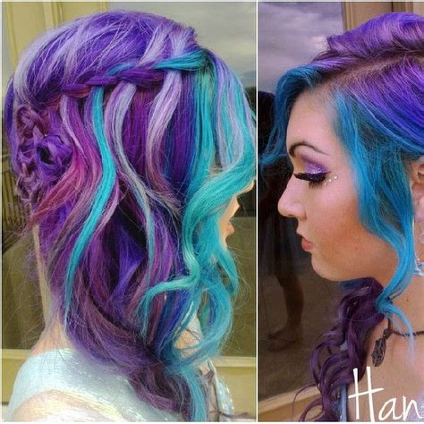 Purple Turquoise Multicolored Hair Hair Colors Hair