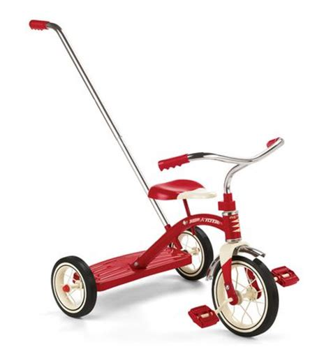 radio flyer classic red   tricycle  push handle