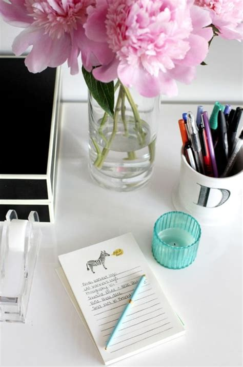 Office Desk Flowers by How To Stay Focused When Working From Home The Everygirl