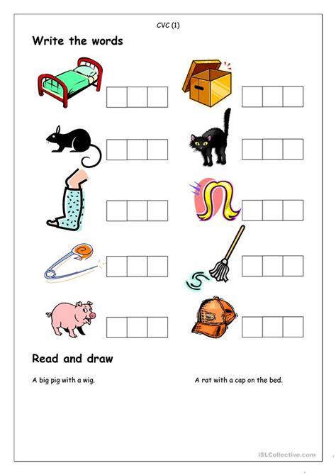 phonics spelling cvc  worksheet  esl printable