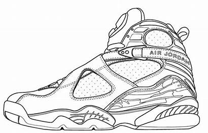 Jordan Coloring Pages Shoe Drawing Air Jordans