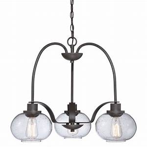 3, Light, Hanging, Ceiling, Pendant, Seeded, Glass, Shades, And, Vintage, Bulbs