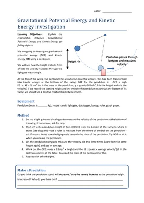 gravitational potential kinetic energy worksheet by uhf