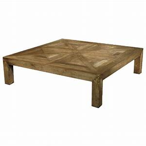 Birkby rustic lodge natural elm parquet square coffee for Natural rustic coffee table