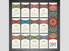 Boho style calendar design Vector Free Download