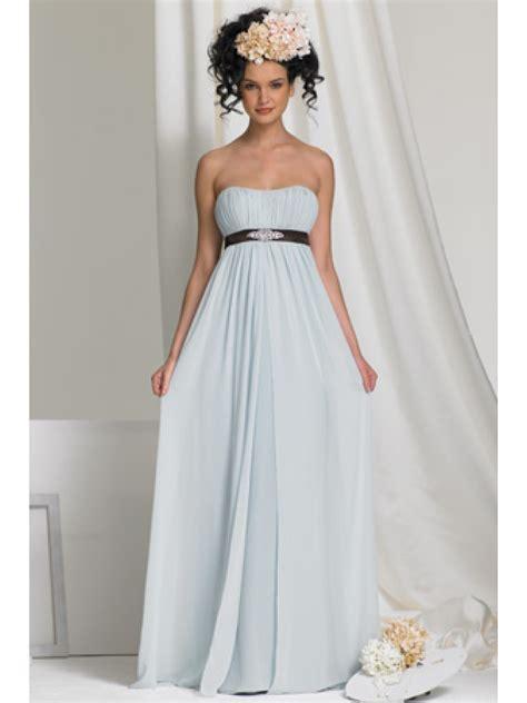 cheap empire blue long chiffon bridesmaid dresses