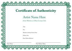 blank certificate  authenticity  artists collectors