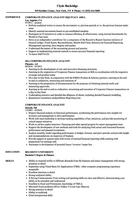 Financial Analyst Resume by Corporate Finance Analyst Resume Sles Velvet