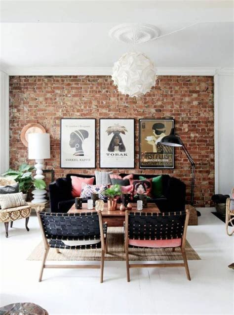 exposed brick wall pink home decor living room designs