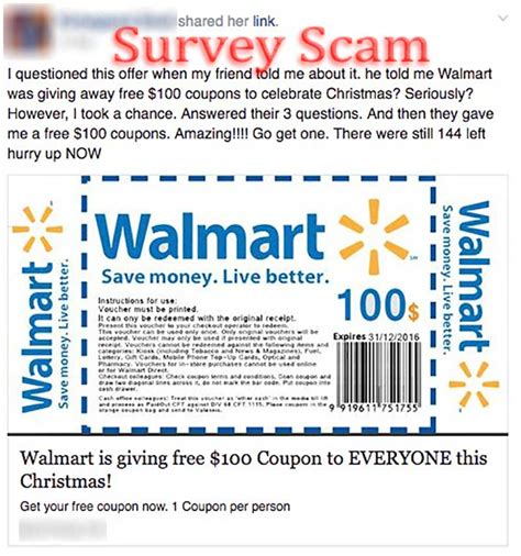 89966 I Walmart Coupons by Walmart Quot Free 100 Coupon Quot Scam Hoax Slayer
