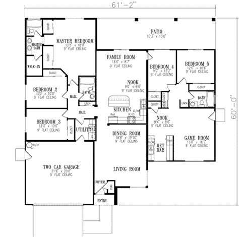 single 5 bedroom house plans traditional style house plan 5 beds 3 baths 2463 sq ft