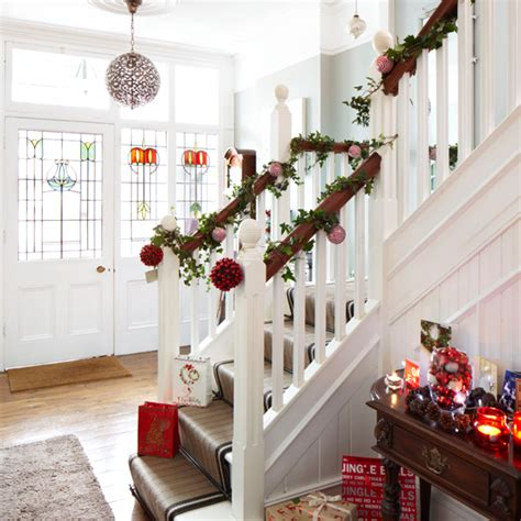 Banister Decorations For Christmas by White Christmas Hallway Ideal Home