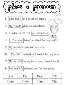 First Grade Pronoun Worksheet