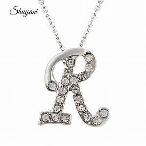 hot summer style rhinestone initial r letter pendant rolo With letter chain necklace