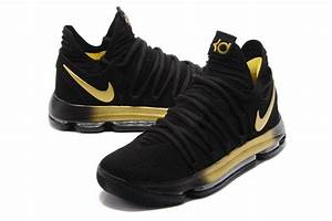 2017 Nike KD 10 X EP In Black Gold Basketball Shoes | New ...