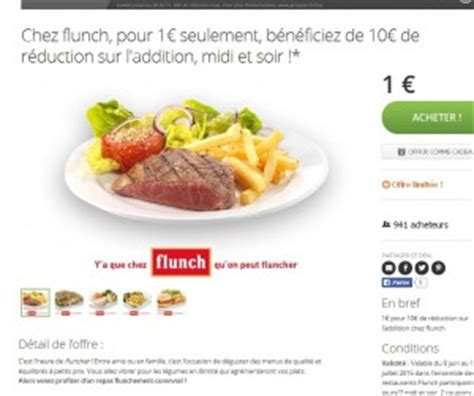 Flunch  9 Euros De Remise Pour Une Note De 20 Euros