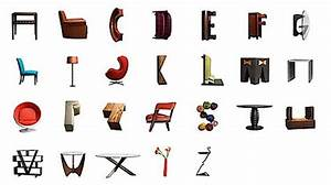 abecedario realizado con muebles de diseno With pictures of letters made from objects