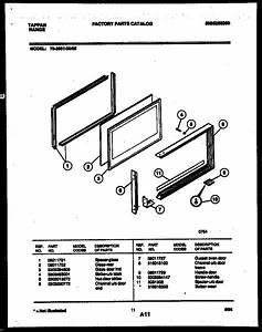 Upper Oven Door Parts Diagram  U0026 Parts List For Model 7236512305 Tappan