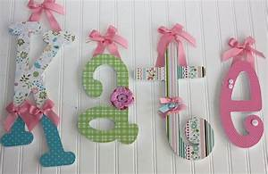 love the different embellishments on each letter wood With baby name wooden letters