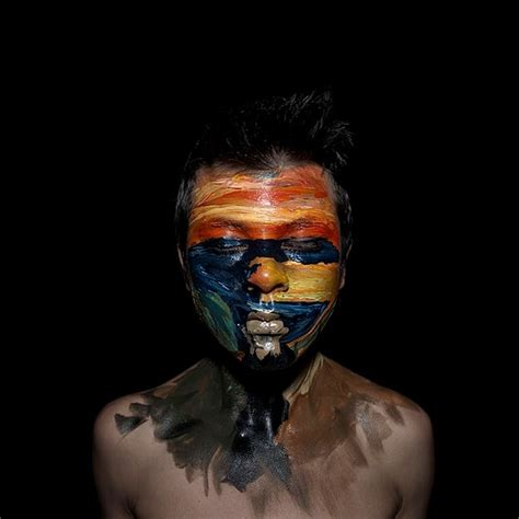 extreme face painting designed  mimic famous artwork