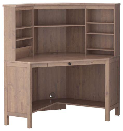 corner desk with hutch ikea hemnes corner work station gray brown traditional