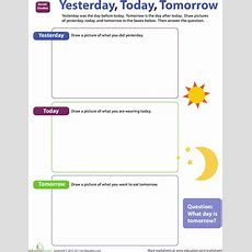 Yesterday, Today, Tomorrow  Teaching Natural World  Preschool Social Studies, Worksheets
