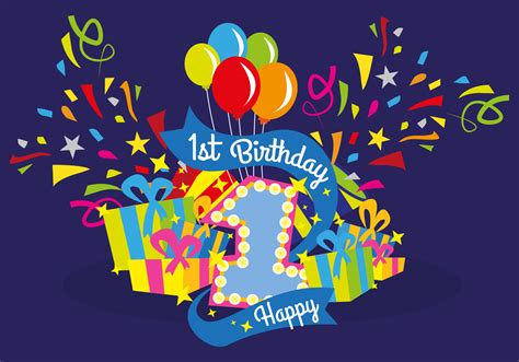 Download and upload svg images with cc0 public domain license. First Birthday Vector Illustration - Download Free Vectors ...