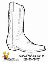 Cowboy Coloring Boots Boot Pages Template Hats Boys Saddle Sketch Colouring Yescoloring sketch template