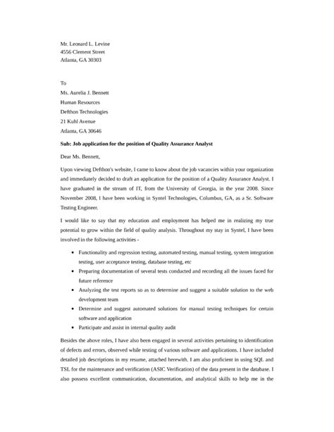 quality assurance and analyst cover letter sles and