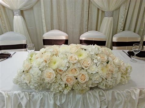 wedding main table decor wedding reception head table flowers dahlia floral