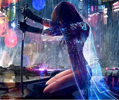 Cyberpunk 2077 Artwork Warrior Rain Sword Wallpapers