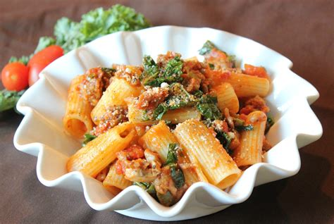 sausage recipes italian sausage rigatoni in tomato basil sauce with peppers and kale simply being mommy