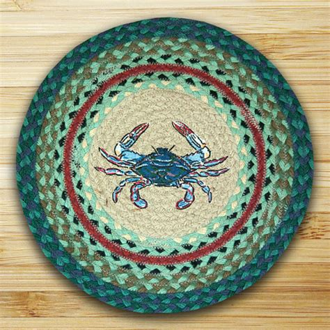 capitol earth rugs blue crab braided jute chair pad by capitol earth rugs